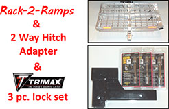 Rack-2-Ramps and 2 Way Hitch Adapter and TRIMAX 3 pc. Lock Set